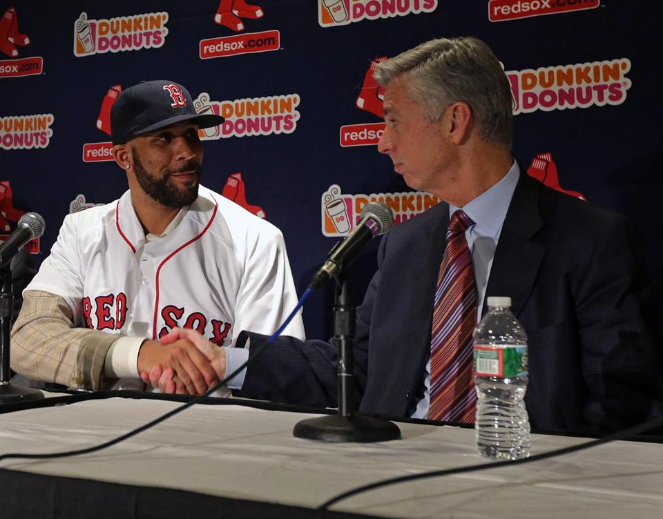 Boston, MA - 12/04/15 - Newly signed Red Sox ace pitcher David Price with Boston Red Sox President of baseball operations Dave Dombrowski at the conclusion of today's introductory press conference. David Price introductory press conference at Fenway Park. - (Barry Chin/Globe Staff), Section: Sports, Reporter: Peter Abraham, Topic: 05David Price, LOID: 8.2.677938961.